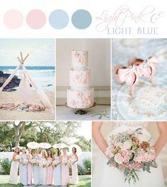 Paleta azul e rosa bebe para decoração e madrinhas