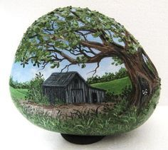 Painted Rock Old Barn...I would do it on something besides a rock...shovel, old saw etc