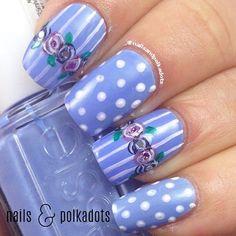 #Purple #Floral nail art for #fingernails