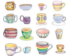"""Check out new work on my @Behance portfolio: """"Code: tea cups!"""" http://be.net/gallery/33355321/Code-tea-cups  behance, watercolor, illustration, art, tea time, tea cups"""
