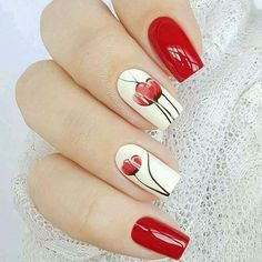60 Stylish Nail Designs for Nail art is another huge fashion trend besides the stylish hairstyle, clothes and elegant makeup for women. Nowadays, there are many ways to have beautiful nails with bright colors, different patterns and styles. Red Nails, Hair And Nails, Cute Nails, Pretty Nails, Nails 2018, Manicure E Pedicure, Luxury Nails, Flower Nails, Nail Swag