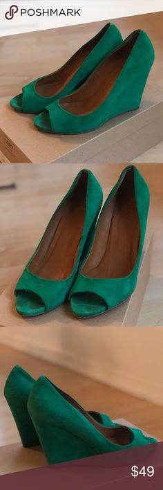 Madewell 1937 brand suede peep toe wedges Great condition! Green peep toe wedges from Madewell. Original price $188. Comes in original box. Madewell Shoes Wedges