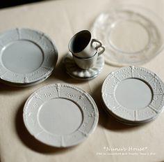 *Nunu's HouseのミニチュアBlog* 1/12サイズのミニチュアの食べ物、雑貨などの制作blogです。Arent these wonderful plates!!!