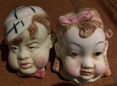 Vintage Japan Salt Pepper Shakers Figural Heads Boy Girl Jowl-y Children
