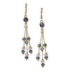 BT-Jeweled Multicolor Three Strand Linear Earrings
