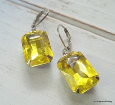 Yellow Rhinestone Earring Yellow Earring by SpiritSparkleWhimsy