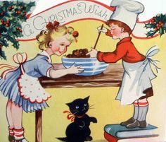 Baking Vintage Christmas Card