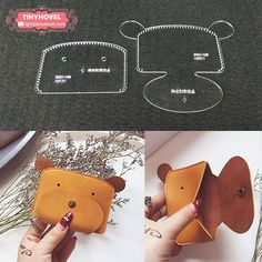 accessories template Leather Card clip / Wallet / Purse Acrylic Template - 1 size for choose, Leathercraft Pattern Leather Diy Crafts, Leather Projects, Diy Leather Gifts, Sewing Crafts, Sewing Projects, Quilting Projects, Leather Wallet Pattern, Leather Case, Clip Wallet