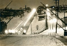 This is an image of the incline railway at Wentworth Street taken at night. The East End Incline Railway was opened and closed in 1936 Hamilton Pictures, Hamilton Ontario Canada, Special Library, Historical Images, Local History, Ancestry, New Pictures, Old Photos, Shots