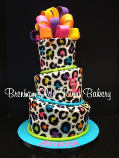 Topsy Turvy Neon Leopard Print Birthday Cake Brenham Olde Towne more at Recipins.com