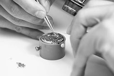 Watchmaker in Laurent Ferrier workshop fixing the wheels of a watch's mecanism. Artisan, Workshop, Wheels, Silver Rings, Scene, Atelier, Craftsman