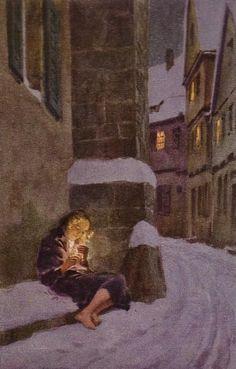 """""""Das Mädchen mit den Schwefelhölzern"""" - Illustration zu Hans Christian Andersens Märchen, von Professor Paul Hey, Maler, Grafiker und Illustrator (19.10.1867 in München - 14.10.1952 Gauting)"""