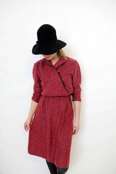 Vintage dress / burgundy wool dress by nemres on Etsy