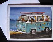 Whimsical VW Van Note Cards $10