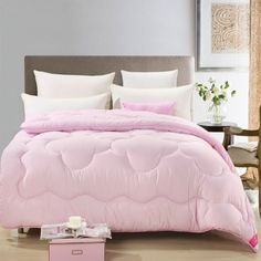 Kids Warm Winter Comforters Twin Size Romantic Pink Quilt And Comforter