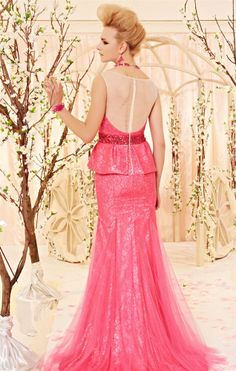 osell wholesale dropship Lace Paillette Bateau Sleeveless Brush Train A Line Evening Dress $183.75
