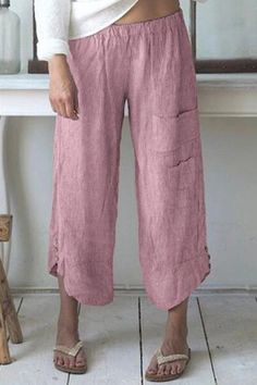 Specifictaion Style Casual Pattern Striped Detail Pockets Length Long Material Linen Season All season Occasion Daily life, Going out Summer Outfits, Casual Outfits, Fashion Outfits, Casual Pants, Summer Clothes, Fashion Pants, Women's Fashion, Cropped Trousers, Wide Leg Pants