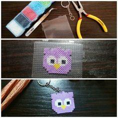 Chaveiro de coruja com hama beads