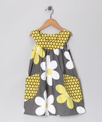 Gray Big Daisy Pocket Yoke Dress -