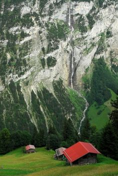 Chalets overlooking the Lauterbrunnen Valley, Switzerland