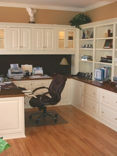 Home Office cabinets - The color combo of dark wood and white.