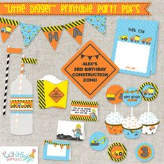 Construction Birthday Printables - PDF files - just print, cut, and decorate #constructionparty #diggerparty #printables