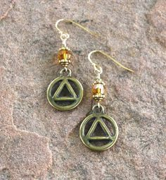 Antique Gold AA Unity Symbol Earrings with Topaz by RecoveryBeads, $19.95