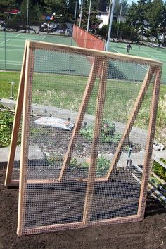 A- frame trellis perfect because its portable and folds flat for easy storage