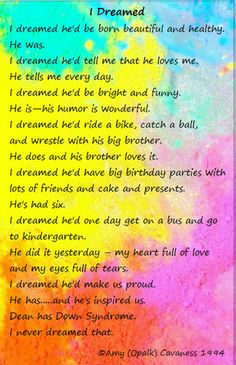 Inspiration+Quotes+Down+Syndrome | Poems About Down Syndrome