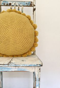 Knitted PomPom Pillow | CloselyKnitCo on Etsy