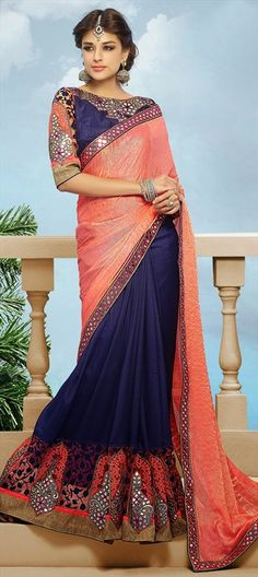BRIDAL WEAR - looking for #saree for the bride? This one will suit your taste for sure!  #ColorBlock #IndianWedding