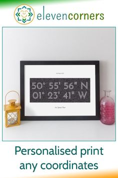 Personalised coordinates print showing the longitude and latitude for any location in the world. Add your own messages too, to make it really personal. A unique location home decor anniversary gift idea. Print or canvas. #elevencorners #personalisedprints #wallart #giftidea #anniversarygifts Personalised Gifts For Mum, Unique Housewarming Gifts, Personalized Anniversary Gifts, Personalised Prints, Personalized Wall Art, Unique Wedding Presents, New Home Presents, Family Wall Art, Family Christmas Gifts