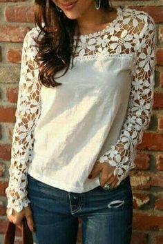 Hermosa blusa con encaje, preciosa. Me encanta