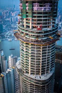 The construction of the giant skyscraper, Shanghai Tower.