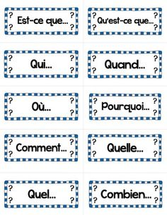 Les mots interrogatifs: French Questions Word Wall