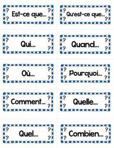 LES MOTS INTERROGATIFS: FRENCH QUESTIONS WORD WALL - $$ TeachersPayTeachers.com