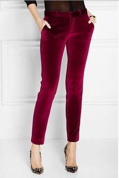 Pants For Women - Jewel Tone Clothing Bold Fashion, Holiday Fashion, Autumn Winter Fashion, Womens Fashion, Holiday Style, Style Fashion, New Mode, Velvet Pants, Mode Style