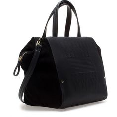 5adea529f4 Zara Suede Combination Bowling Bag (2.030 CZK) found on Polyvore