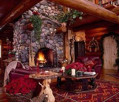 The Christmas fireplace pictures shown here feature striking rustic stone fireplace surrounds trimmed out for the holidays. Given the natural beauty of the stone, itself, less decor is MORE! Stone Fireplace Pictures, Stone Fireplace Designs, Stone Fireplace Surround, Cabin Fireplace, Rustic Fireplaces, Christmas Fireplace, Cozy Christmas, Stone Fireplaces, Stone Masonry