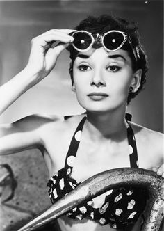 Audrey Hepburn in a polka dot bikini and sunglasses, photographed by Angus McBean; 1950s | rusted shutter | #vintage #1950s