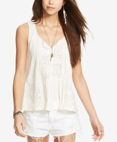 Denim & Supply Ralph Lauren Lace-Trim Boho Top