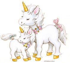 Unicorn Mama and baby Unicorn Horse, Unicorn Art, Magical Unicorn, Unicornios Wallpaper, Unicorn Pictures, Unicorn Birthday Parties, Cute Illustration, Cute Art, Cute Pictures