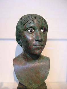 Bronze Bust of a Roman Woman 25 CE features lifelife inlaid glass-paste eyes and was once adorned with earrings Getty Villa, Ancient Rome, Roman Empire, Romans, Past, Sculptures, Statue, Photo And Video, Eyes