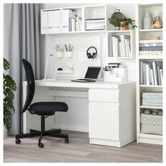 MALM desk - black-brown - IKEA austriaMALM desk black-brownJust Home Black & Gold desk with 2 drawers - large quantitiesBlack & gold desk with 2 Inspiration Home Office Desk (the most comfortable desk) - Home Office Design, Home Office Decor, Home Decor, Office Ideas, Ikea Office, White Desk Home Office, Black Office Furniture, Small Office, Decorating Office Desks