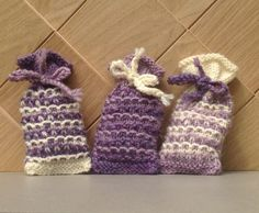 Set of three hand knitted lavender bags