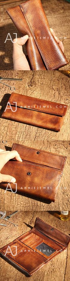 Handmade leather vintage women men long wallet clutch phone purse wallet Mens Long Leather Wallet, Wallets For Women Leather, Leather Bags Handmade, Leather Craft, Clutch Wallet, Card Wallet, Bag Patterns To Sew, Leather Projects, Leather Accessories