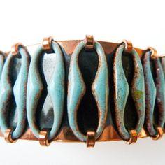 Matisse Copper Blue Enamel Cuff Vintage by StoneVintageJewelry, $40.00