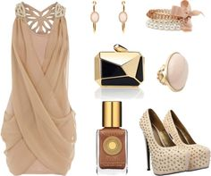 """""""Champagne Bar Outfit"""" love the color but I think I'd have to work on my tan"""