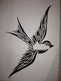 Tribal Robin Sparrow Pen Drawing