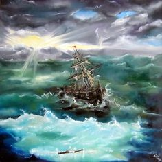 Boat in Storm - oil on canvas , 50x50cm, 300.- Euro, ship boat sea ocean storm waves clouds sun green blue